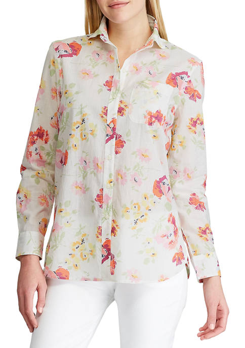 Chaps Womens Long Sleeve Tommi Floral Cotton Dobby