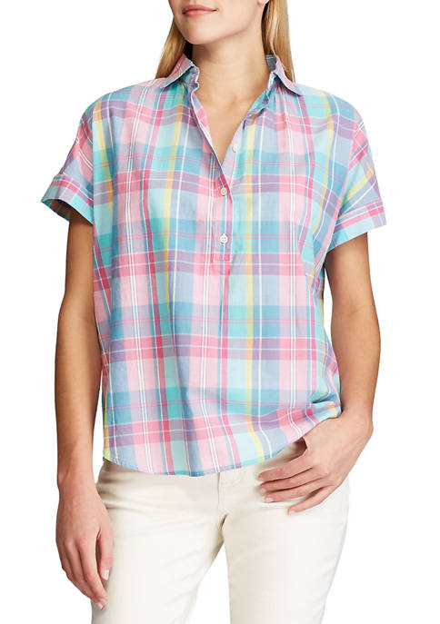 Chaps Womens Short Sleeve Seymour Plaid Button Front