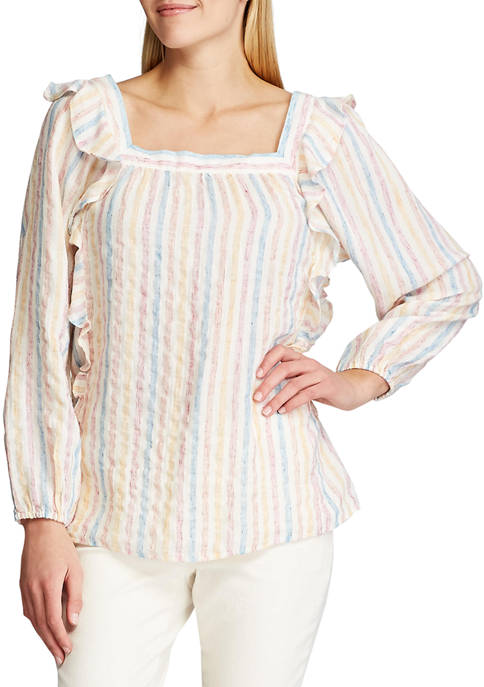 Chaps Womens Long Sleeve Paige Beach Stripe Linen