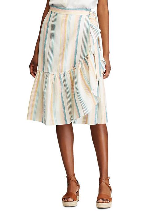 Womens Tiered Linen Skirt