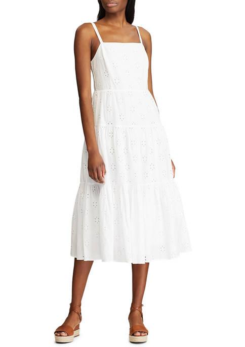 Chaps Womens Sleeveless Vierra Eyelet Dress