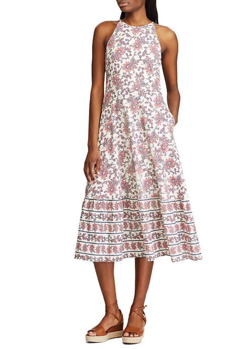 Chaps Womens Printed Halter Midi Dress