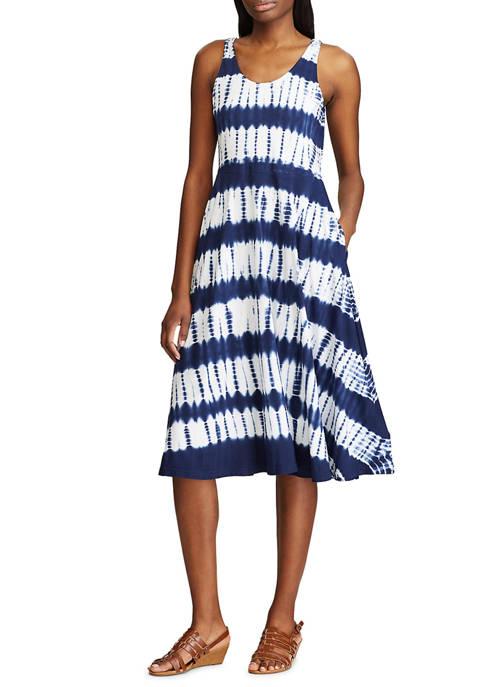 Chaps Womens Sleeveless Cotton Sundress