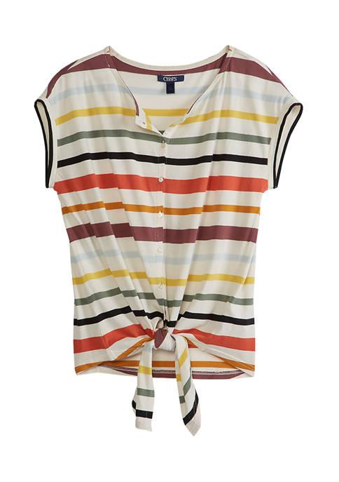 Chaps Womens Monroe Short Sleeve Stripe Tie Front