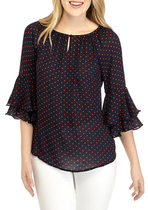Chaps Womens Sullivan Dot Ruffle Sleeve Blouse