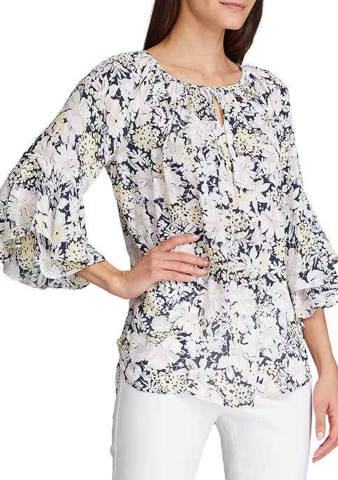 Chaps Womens Floral Flare Sleeve Blouse