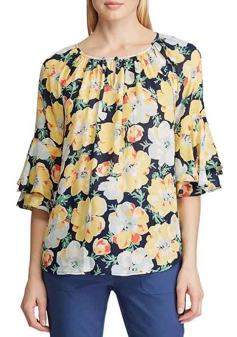 Chaps Womens Sullivan Floral Rufle Sleeve Blouse