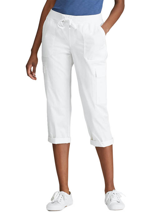 Chaps Womens Shelby Twill Pull On Capri Pants