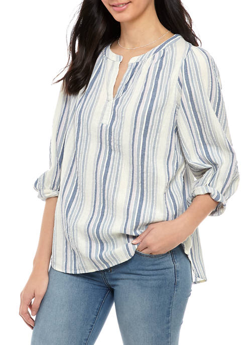Chaps Womens Doby Stripe Gauze Top