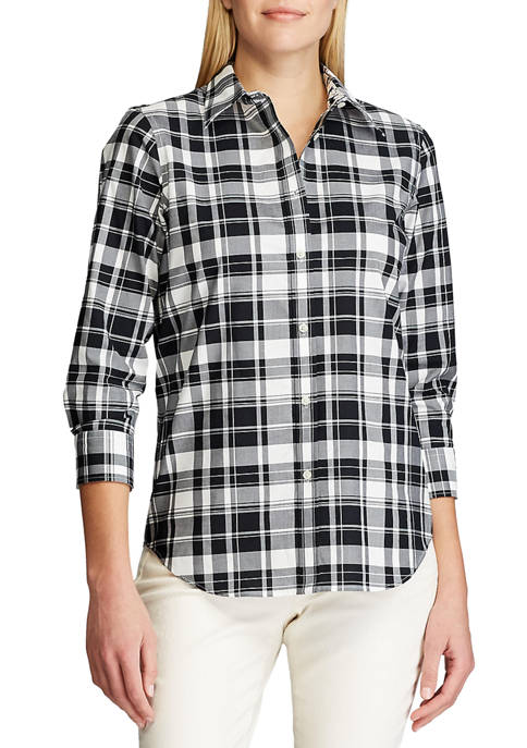 Chaps 3/4 Sleeve Non Iron Chatter Plaid Shirt
