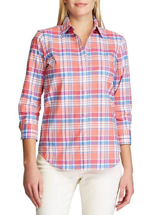 Chaps Womens No Iron 3/4 Sleeve Button Down