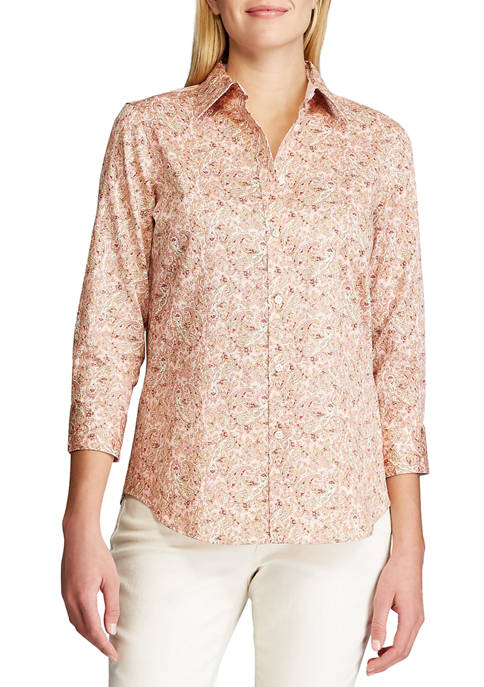 Chaps Womens 3/4 Sleeve Chatter Paisley Shirt