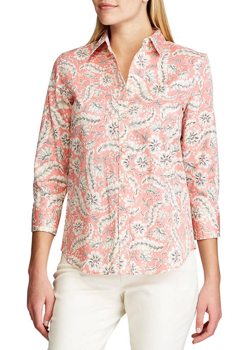 Chaps Womens 3/4 Sleeve Chatter Button Down Shirt