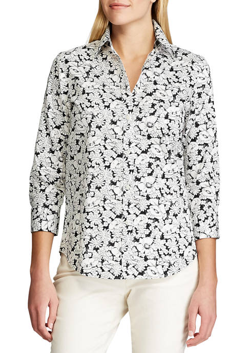 Chaps Womens 3/4 Sleeve Chatter Sketch Floral Shirt