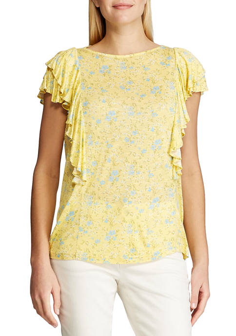 Chaps Womens Short Sleeve Corinna Print Slub T-Shirt