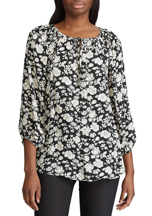 Chaps 3/4 Sleeve Ana Ditsy Georgette Print Top