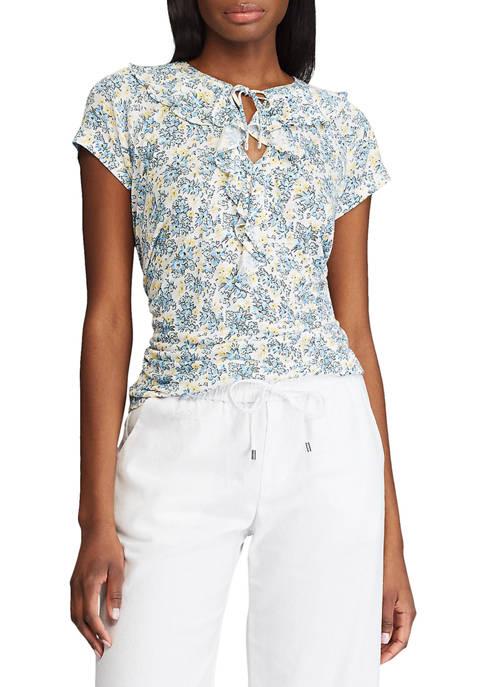Chaps Womens Short Sleeve Morris Print Top