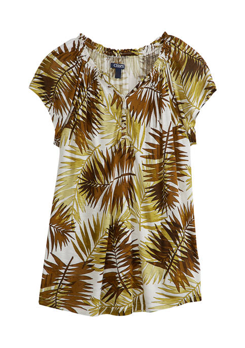 Chaps Womens Short Sleeve Slub Top