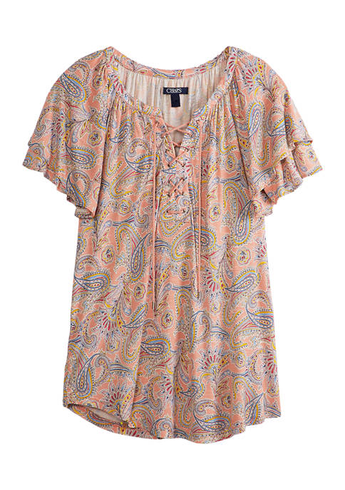 Womens Short Sleeve Lace-Up Top