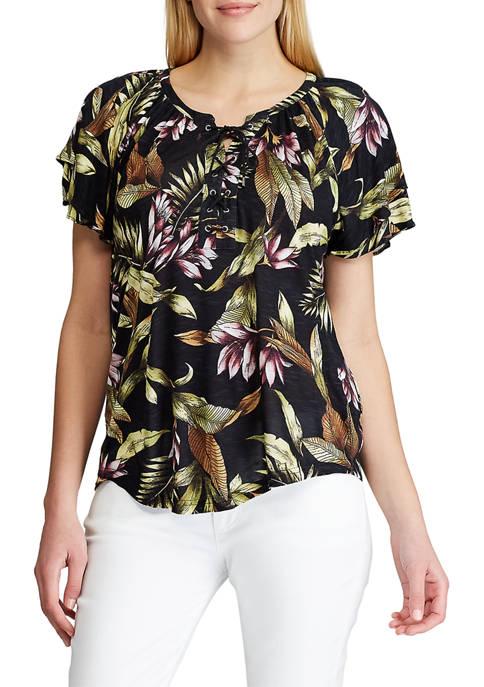Chaps Jersey Flutter-Sleeve Top