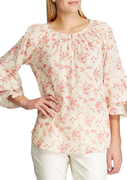 Chaps Womens Cotton Crinkle 3/4 Sleeve Blouse
