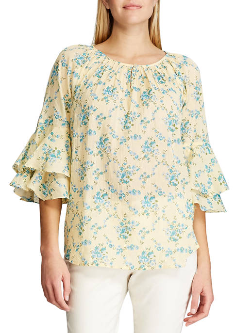 Womens Cotton Crinkle 3/4 Sleeve Blouse