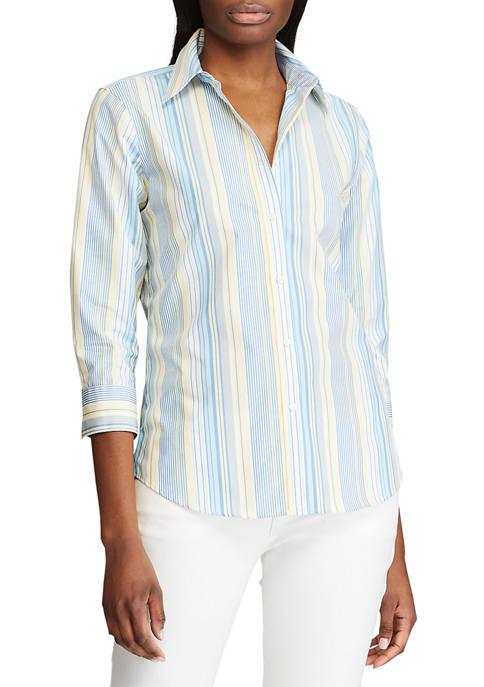 Chaps 3/4 Sleeve Chatter Stripe Shirt