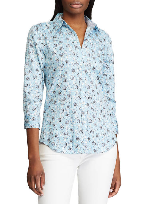 Chaps Womens 3/4 Sleeve Chatter Floral Shirt