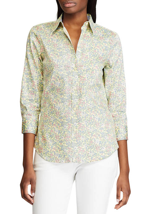 Chaps Womens 3/4 Sleeve Chatter Ditsy Shirt