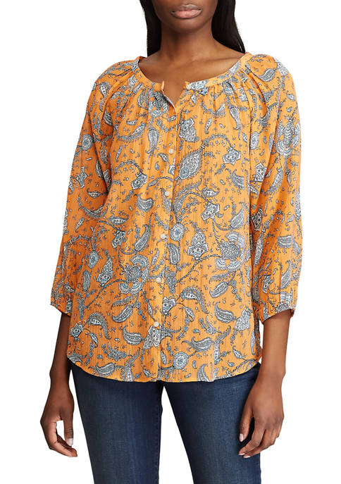 Chaps Womens 3/4 Sleeve Sims Crinkle Blouse