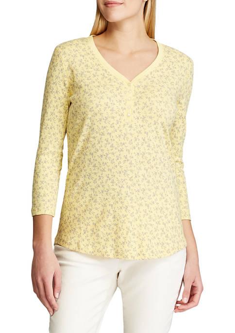 Chaps Womens Cotton Slub 3/4 Sleeve Knit Top