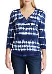 Womens Cotton Slub 3/4 Sleeve Knit Top