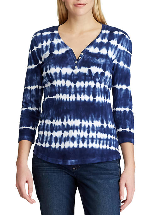 Chaps Womens Cotton Slub 3/4 Sleeve Knit Top
