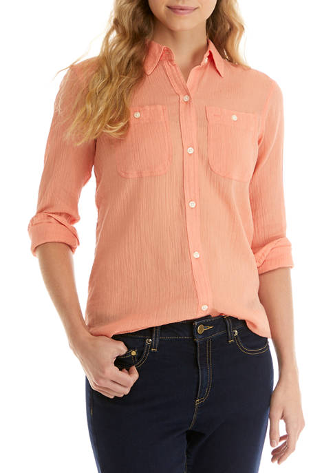 Chaps Womens Long Sleeve Crinkle Shirt