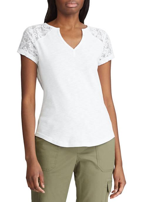 Womens Short Sleeve Cotton Henley T-Shirt