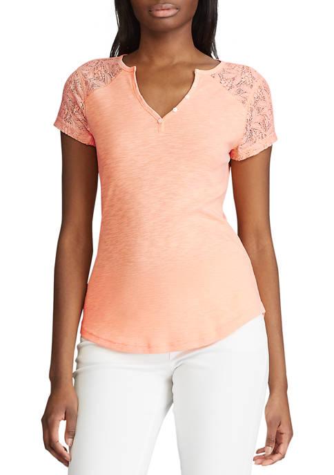 Chaps Womens Short Sleeve Cotton Henley T-Shirt