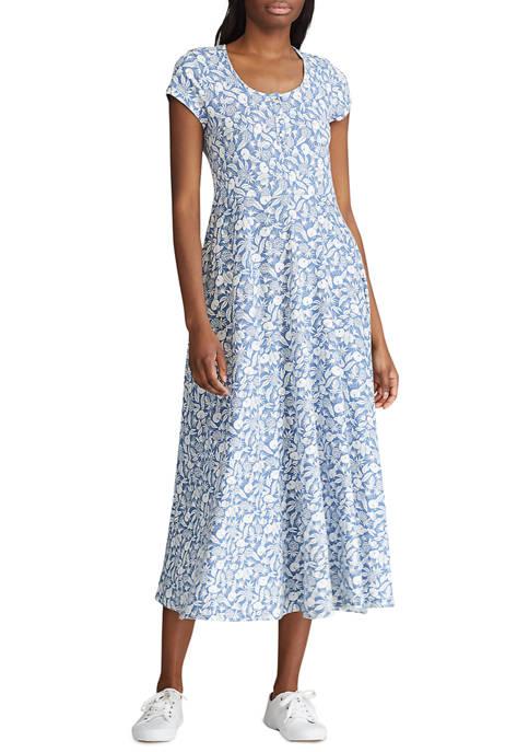 Chaps Womens Floral Midi Dress