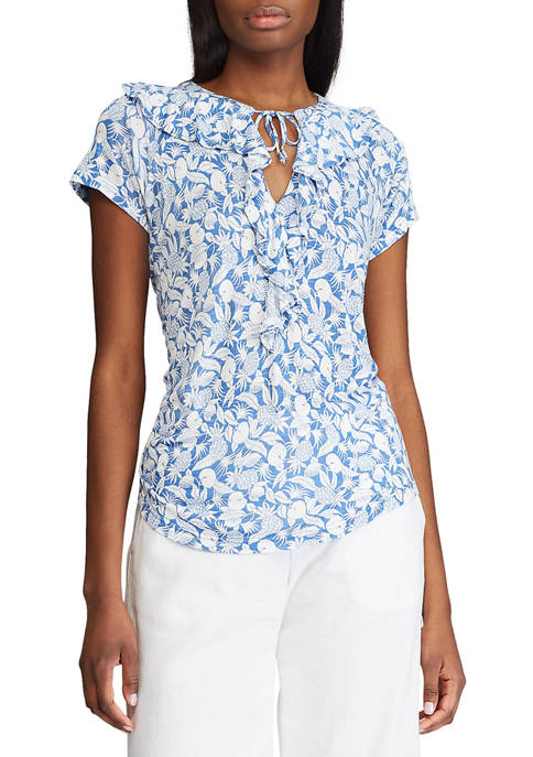 Chaps Womens Short Sleeve Morris Print Top