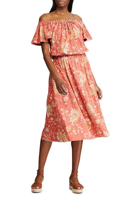 Chaps Jersey Flutter-Sleeve Dress