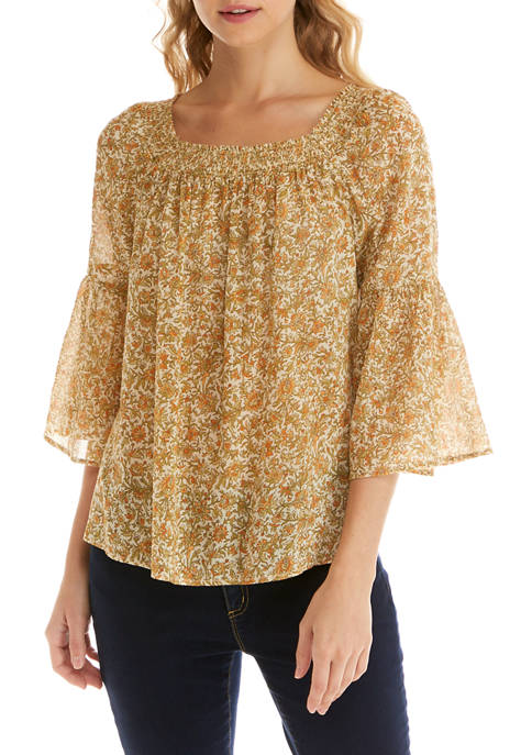 Chaps Womens 3/4 Sleeve Crinkle Blouse