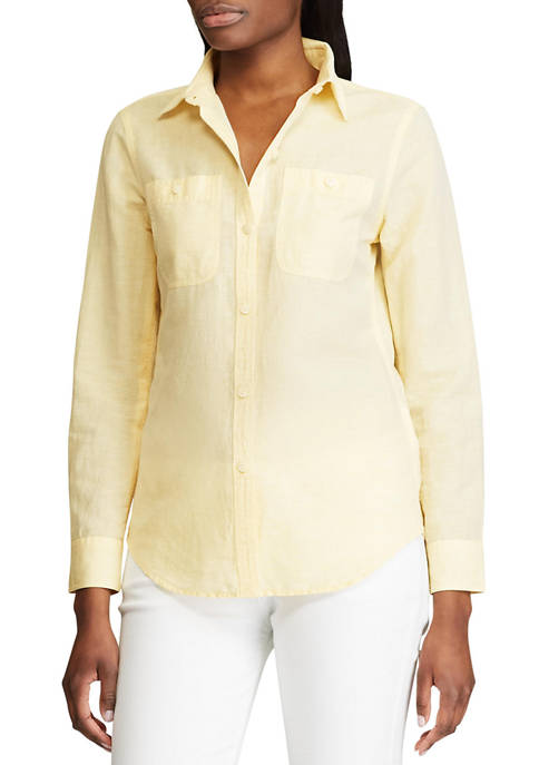 Chaps Womens Long Sleeve Arie Linen Button Front