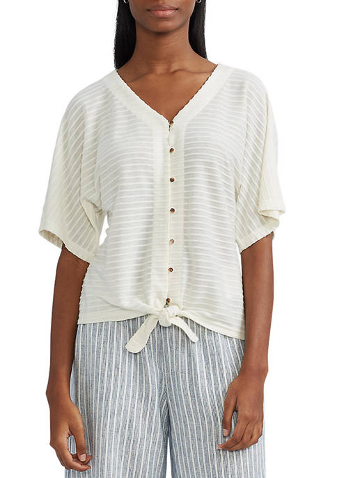 Chaps Tied Front Cotton Top