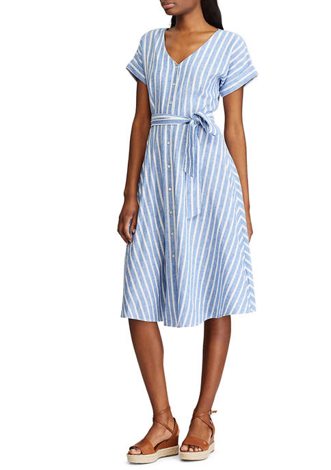 Chaps Womens Button Front Day Dress