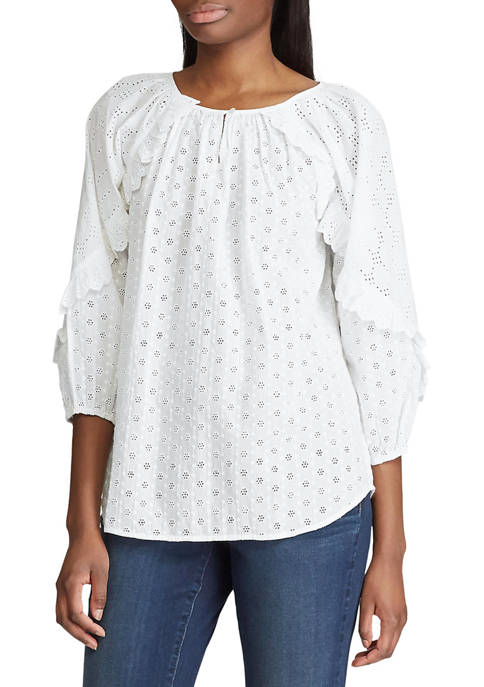 Chaps Womens Floral Eyelet 3/4 Sleeve Blouse