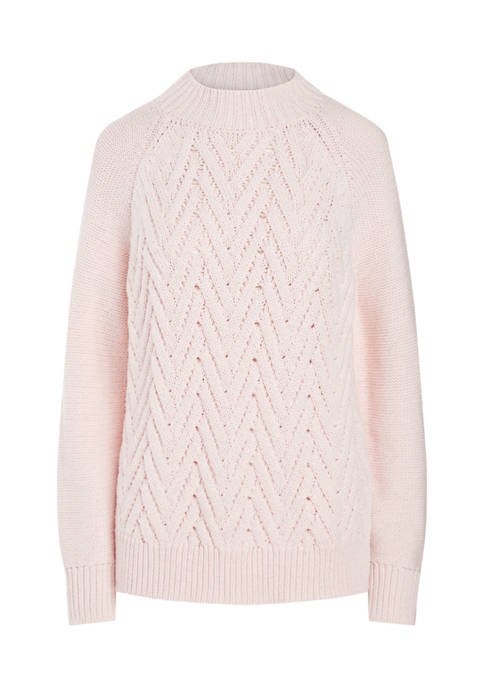 Chaps Womens Long Sleeve Mock Neck Sweater