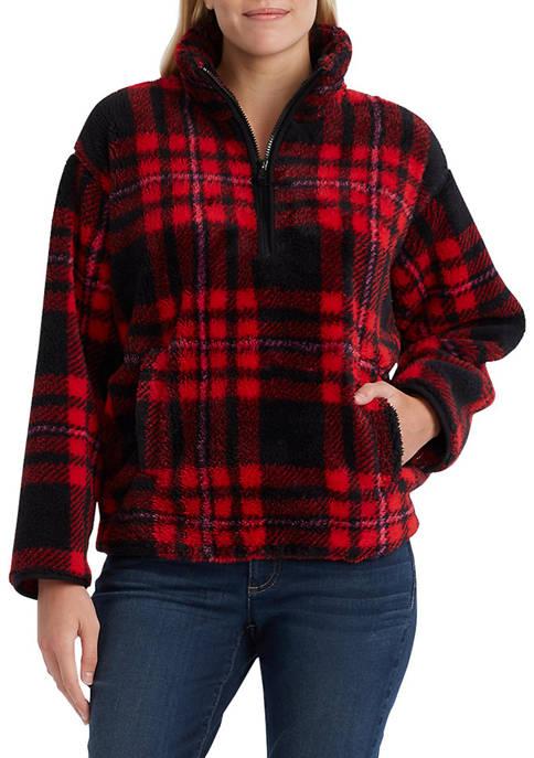 Chaps Womens Faux-Shearling Mock Neck Vest