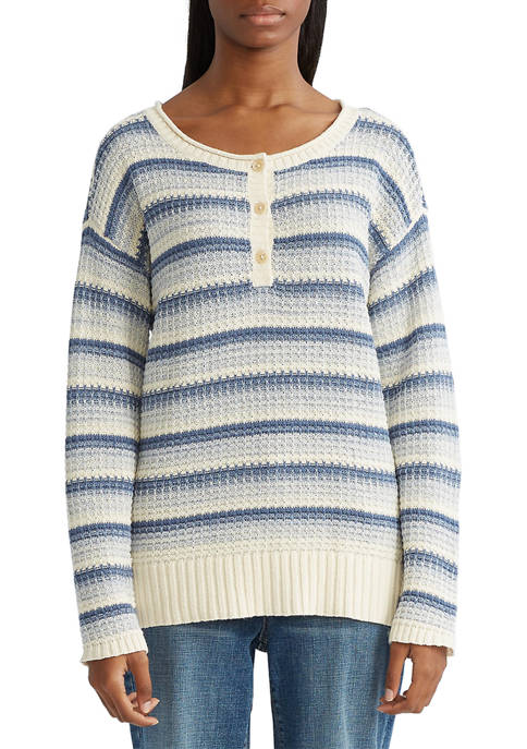 Chaps Striped Henley Sweater