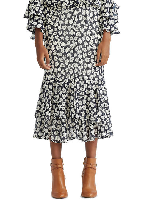 Chaps Womens Tiered Georgette Skirt