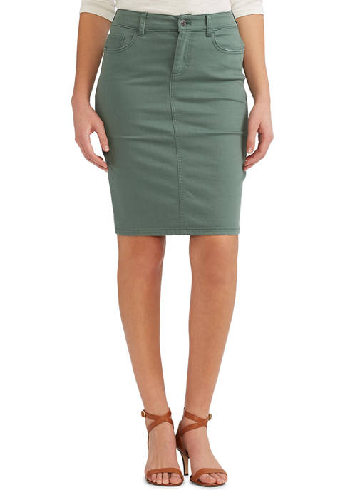 Chaps Womens Straight Stretch Twill Pencil Skirt