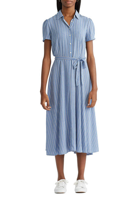 Chaps Womens Fit and Flare Shirtdress